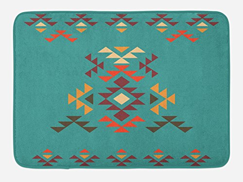 """Lunarable Aztec Bath Mat, Colorful Geometric Shapes on Teal Backdrop Cheerful Design Culture, Plush Bathroom Decor Mat with Non Slip Backing, 29.5"""" X 17.5"""", Teal Multicolor"""
