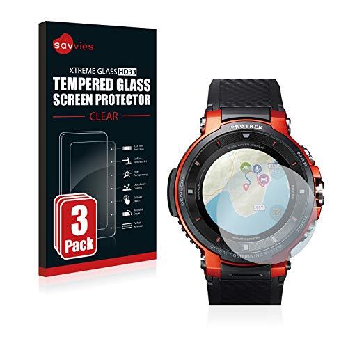Savvies Panzerglas kompatibel mit Casio Pro Trek Smart WSD-F30 (3 Stück) - Echt-Glas, 9H Festigkeit, Anti-Fingerprint