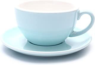 Coffeezone Barista Latte Art Cup and Saucer, 3 Capacity to Choose for Latte & Cappuccino & Double Espresso, New Bone China (Glossy Light Blue, 10.5 oz)