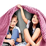 Quility Premium Kids Weighted Blanket & Removable Cover | 5 lbs | 36'x48' | for a Child Between 40-70 lbs | Single Size Bed | Premium Glass Beads | Cotton/Minky | Grey/Chevron Print