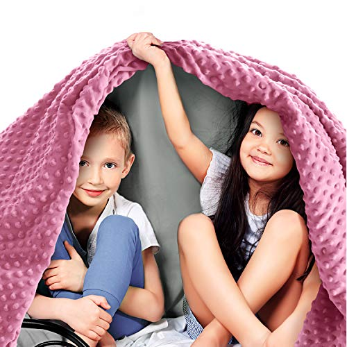 Quility Premium Kids Weighted Blanket & Removable Cover - 5 lbs - 36'x48' - for a Child Between 40-70 lbs - Single Size Bed - Premium Glass Beads - Cotton/Minky - Grey/Aqua Color