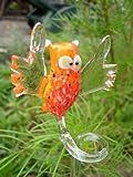 basticks Eule Orange Orchideenstab - Blumenstab mit Vogel Figur aus Glas - Rankhilfe Kauz Deko Orchideen Blumen Garten u 3