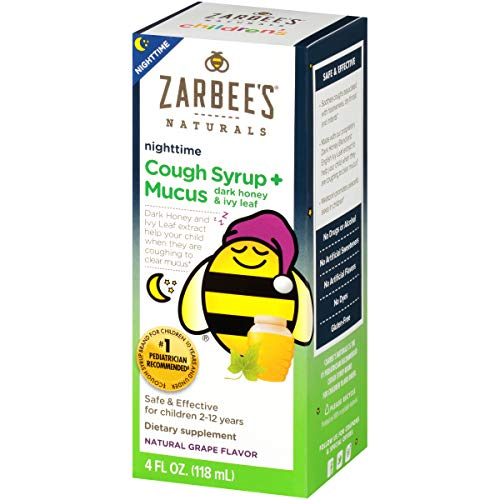 Zarbee's Naturals Children's Cough Syrup* + Mucus Nighttime, Grape Flavor, 4 Ounce Bottle