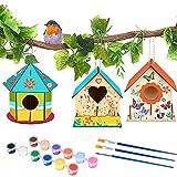 MMTX Bricolaje de Madera para Pájaros, Manualidades para Niños, Juego de Colgar para Pájaros de Madera Grande Kit de Materiales, Juego de Manualidades para niños y niñas (3PCS)