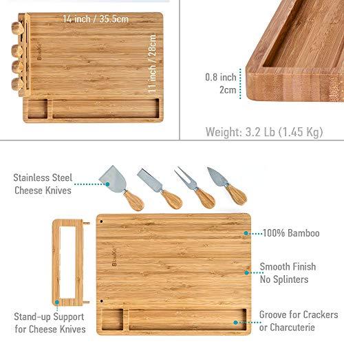 Bambus Käsebrett mit Käsemesser Set 35x28cm – Servierplatte aus Holz für Käse & Häppchen – Servierbrett Holz Käseplatte oder Schneidebrett Küchenbrett – Cheese Board Charcuterie Board – Geschenk Idee