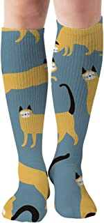 Yellow Cats Different Poses Animals 19.7 Inch Compression Socks High Boots Stockings Long Hose for Yoga Walking for Women Man