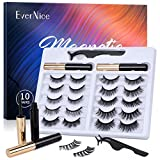 Magnetic Eyelashes with Eyeliner kit, Natural Look Strong Magnetic Eyeliner and 10 Pairs Lashes Set by EverNice for Daily Life&Party Styles,Reusable Eyelashes with Tweezers,No Glue Needed