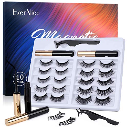 Magnetic Eyelashes with Eyeliner Kit,Natural Look Strong Magnetic Eyeliner and 10 Pairs Lashes Set by EverNice for Daily Life & Party Styles,Reusable Eyelashes with Tweezers,No Glue Needed