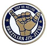 Brazilian Jiu jitsu parche (3,5pulgadas) Keep en Rolling Grappling hierro bordado/coser en insignia BJJ Gi Applique Por Karma parche