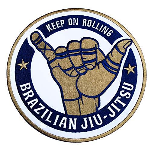 Artes marciales Jiu-Jitsu brasileño parche (9cm) hierro bordado/coser en insignia Keep On Rolling BJJ Gi Applique