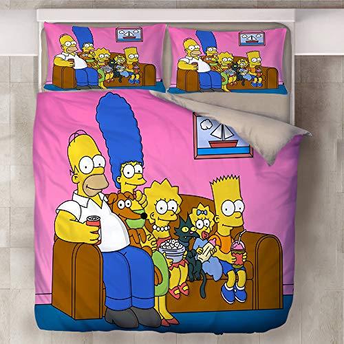SSIN-Simpson Bettbezug Bettwäsche Set - Bettbezug und Kissenbezug,Mikrofaser,Bettwäsche-Sets 3D Simpsons Anime Printed Kind Erwachsene Bettwäsche Aus (10,135x200cm)