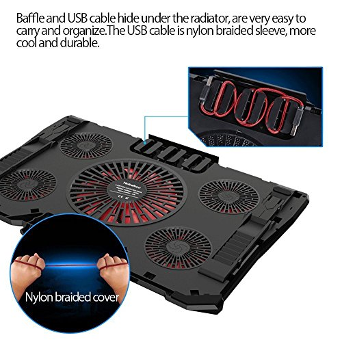 Nobebird Laptop Cooler, Laptop Cooling Pad with 5 Quiet Fans for 12-17.3 Inch Laptop, Cooler Pad with LED Light, Dual 2 USB Ports, Adjustable Mount Stand Height Angle (5 Fans)