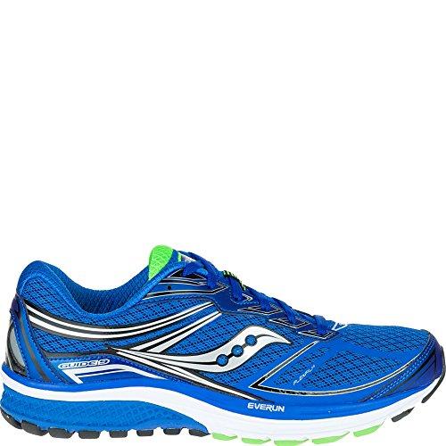 Saucony Men's Guide 9 Running Shoe, Blue/Slime/Black, 10.5 M US