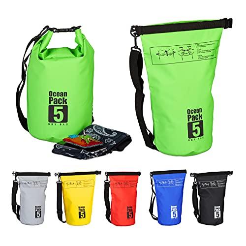 Relaxdays Ocean Pack, 5L, wasserdicht, Packsack, leichter Dry Bag, Trockentasche, Segeln, Ski, Snowboarden, grün