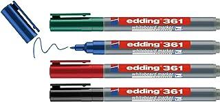 edding 361 whiteboardmarker set - zwart, rood, blauw, groen - 4 whiteboardstiften - ronde punt 1 mm - boardmarker uitwisba...