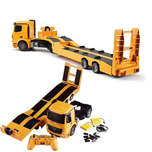 Fistone RC Truck Detachable Flatbed Semi-Trailer Engineering Tractor Remote Control Low Loader Die-Cast Car Model Kids Electronics Hobby Toy with Sound and Light Effect