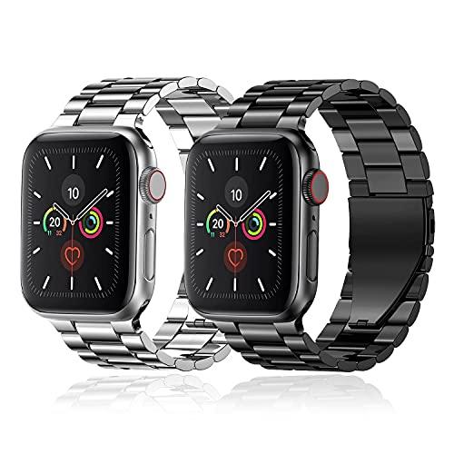 baklon 2 Piezas Compatibles con Correa de Reloj Apple 38/ 40/ 41/ 42/ 44/ 45 mm, Correa Deportiva de Dcero Inoxidable de Repuesto Compatible con iWatch Series SE/7/6/5/4/3/2/1, Negro & Plateado