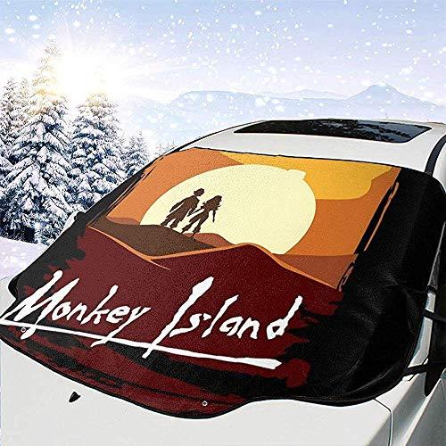 MaMartha Car Windshield Snow Cover Monkey Island Apocalypse Now Schneedecke für Windschutzscheibe, Sonnenschutz zum Entfernen von EIS, Universal Fit