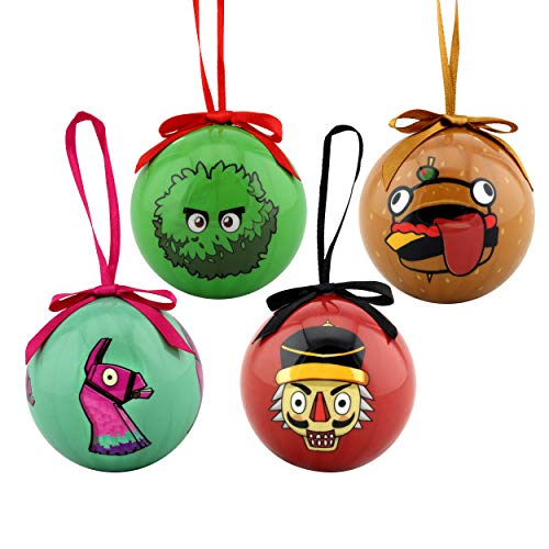 Epic Games Fortnite Holiday Ornaments Set of 4 - Collection 1 (The Bush, Durr Burger, Loot Llama & Crackshot)