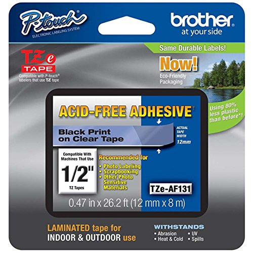 """2/Pack Genuine Brother 1/2"""" (12mm) Black on Clear Acid Free Adhesive TZe P-touch Tape for Brother PT-1880, PT1880 Label Maker"""