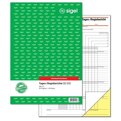 SIGEL SD030 Tagesbericht / Regiebericht A4, 40 Blatt, selbstdurchschreibend, 1 Stück
