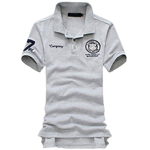 AMBLY メンズ ワンポイント 薄手 半袖 ポロシャツ 刺繍 ワッペン シンプル ゴルフウェア