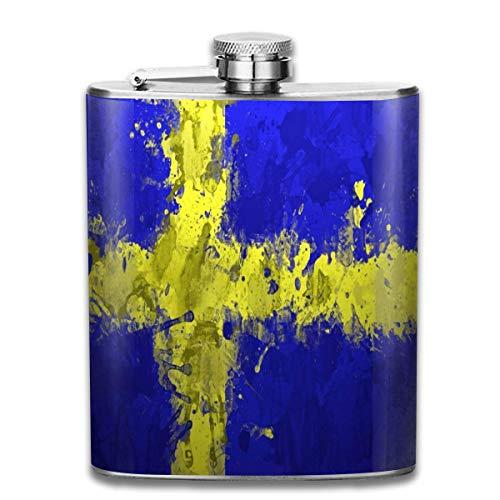 Flask Zweden Vlag Blauw Geel RVS Kleine Hip Flask Mens Lekvrij Vlagon Outdoor Draagbare Flask voor Alcohol Whiskey Rum en Vodka