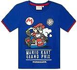 Super Mario T-Shirt Kurz Jungen Kart (Blau, 134-140)
