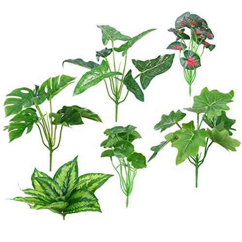 OUNONA 6 unids Artificial Tropical Leaves Tropical Plant Party Decoraciones Home Office Cafe Store Decoración de DIY