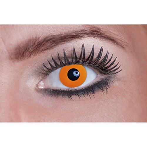 Eyecatcher Flash Orange Color Fun, farbige UV-Kontaktlinsen / Motivlinsen, leuchten bei Schwarzlicht, 1er Pack (1 x 2 Stück)