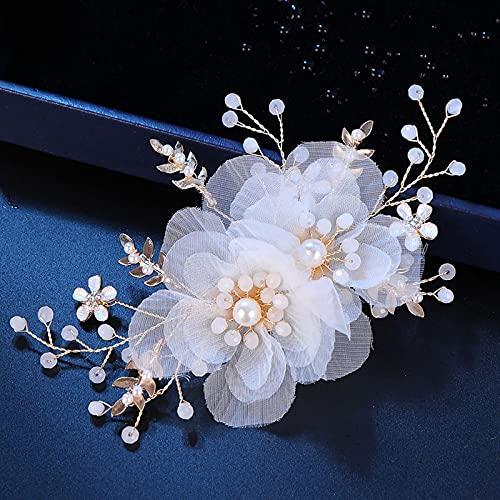 Elegantes horquillas florales para el cabello, hilo de encaje blanco, horquilla de...