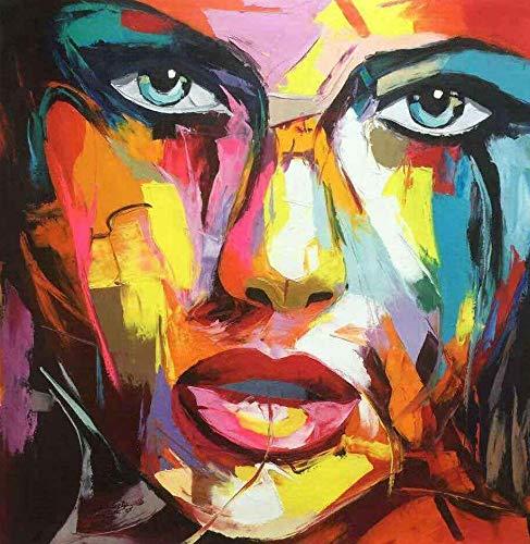 Tableau Figuratif Visage d'une Femme, Dimensions 80/80 Cm, Tableau Carré, Peinture Au Couteau sur Un Châssis en Bois, Tableau Signé. Tableau Peint À La Main. Aucun Travail d'impression