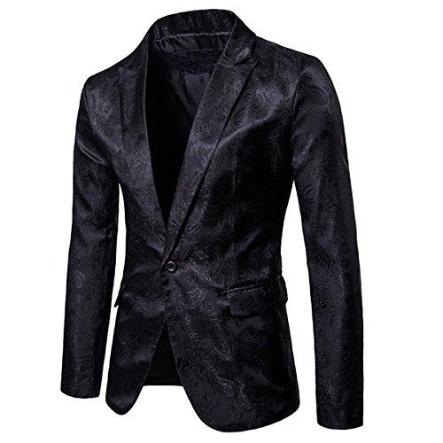 Cloudstyle Mens Slim Fit Paisley Suit Party Suit Jacket One Button Jacquard Sport Coat Black