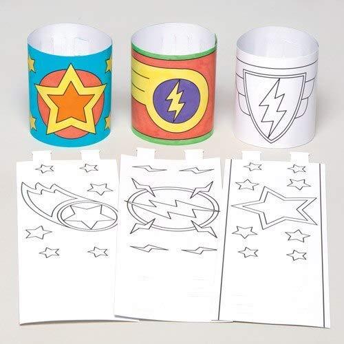 Baker Ross Superhelden-Armbänder für Kinder zum Ausmalen, Basteln und Tragen – Kreatives Bastelset für Kinder (12 Stück)