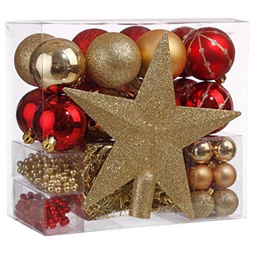 Lot déco Noël - Kit 44 pièces pour décoration sapin : Guirlandes, Boules et Cimier - Thème couleur : OR et ROUGE