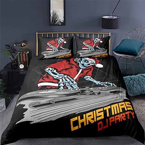 Meetlife Juego de cama de Halloween con diseño de calavera gótica, color negro