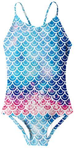 RAISEVERN Mermaid Badeanzüge für Mädchen, Verstellbarer Riemen Cross Back Cute Fish Scale Pattern Printing Badeanzug für Kinder