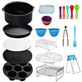 COLFULINE 8 Inch General Air Fryer Accessories,15 Pcs Deep Fryer Accessories Set, Air Fryer basket baking pan, For Phillips, Gowise Universal XXL Power Air Fryer Accessory Kit Fit All 4.5QT-6.8QT