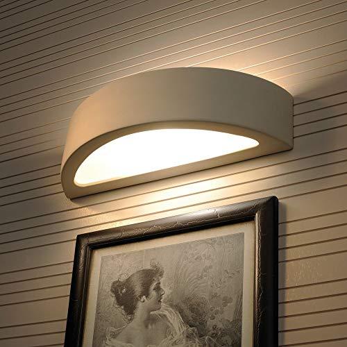 famlights Aaron Wandleuchte aus Keramik weiß | Wandlampe Treppenhaus modern Flur-Leuchte edel Wohnzimmer-Lampe Wandbeleuchtung Flur-Lampe Treppe Eingangsbereich Wandstrahler Uplight Downlight E27