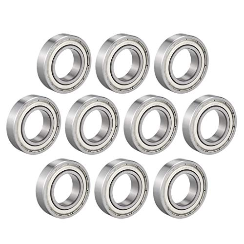 uxcell 6904Z Deep Groove Ball Bearing Single Shield 1060904, 20mm x 37mm x 9mm Chrome Steel Bearings (Pack of 10)