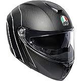 AGV Unisex-Adult Flip-Up Sport Modular Motorcycle Helmet (Black/White, Large)