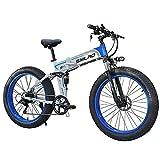 ZOSUO City Bike E-Bike 26 Zoll E-Bike Trekking Für Herren Pedelec Mountainbike 48V10AH Batterie/Shimano 7-Gang-Getriebe/Höchstgeschwindigkeit 30Km/H/Kilometerstand Aufladen Bis Zu 35-40Km,Blau