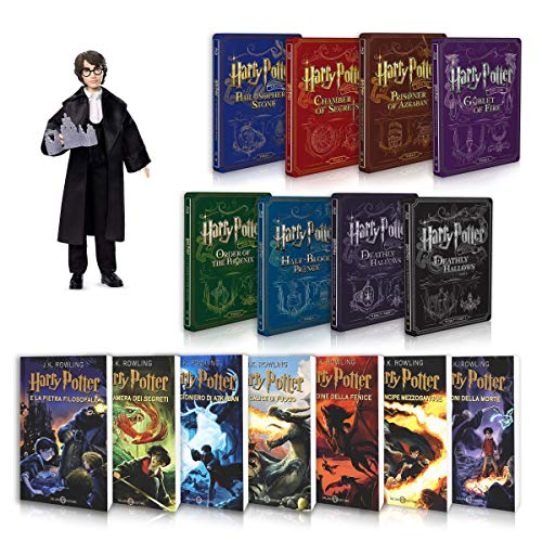 Harry Potter La Saga Completa Libri 1-7 + Steelbook 1-8 + Bambola Harry Potter Ballo del Ceppo