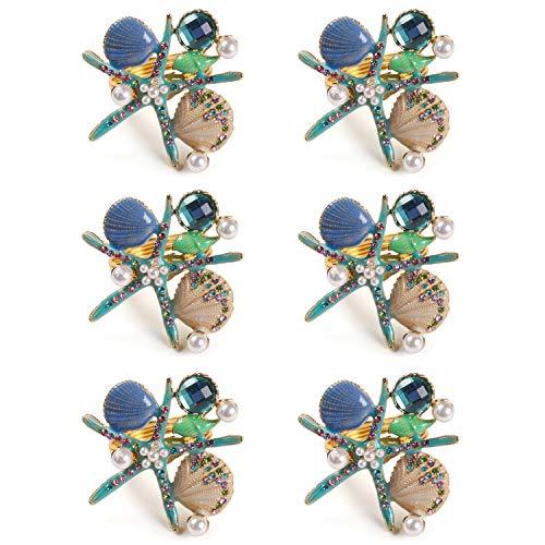 QTKJ Set of 6 Home Metal Starfish Shell Ocean Series Napkin Rings Diamonds Crystal Pearl Napkin Buckles Holder for Wedding,Parties, Dinners, Christmas, Holidays Decor (Blue)