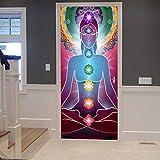 A.Monamour Pegatinas Decorativas de Puerta Autoadhesivo 3D Yoga Meditación Zen Posición De Loto...