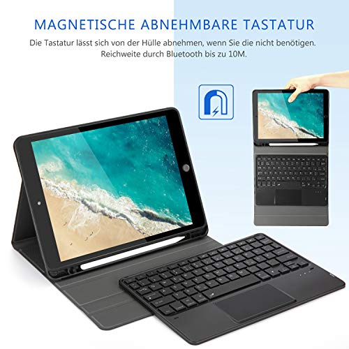 Jelly Comb Beleuchtete Tastatur Hülle mit Touchpad für iPad 2019/2020 10,2 Zoll(8. Gen/7. Gen), iPad Air 3, iPad Pro 10,5Zoll, Abnehmbare Kabellose QWERTZ Tastatur mit Schützhülle/Trackpad, Schwarz