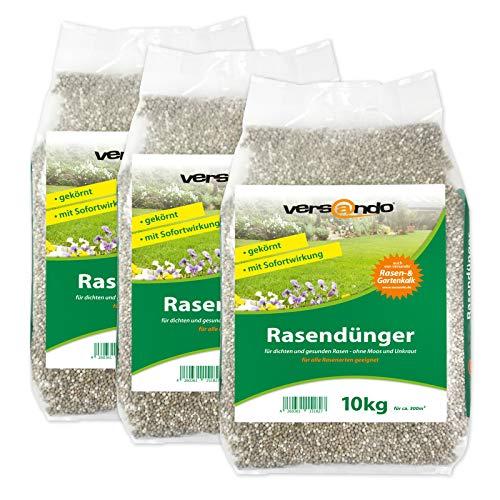 versando Frühjahrsdünger Rasendünger 30 Kg für bis zu 1000m² sattgrünen Rasen, ganzjährig - ohne Moos und Unkraut, NPK-Dünger