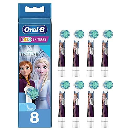 Oral-B Kids Brossettes de rechange pour Brosse à Dents Électrique Format Spécial Boîte Aux Lettres, Pack de 8, enfant de 3 ans et plus , Édition Reine des Neiges 2
