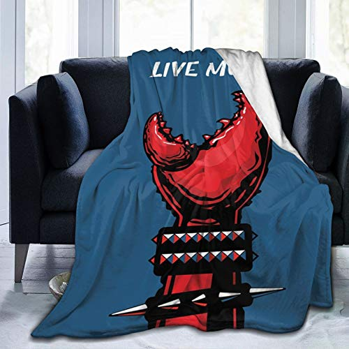 Manta mullida, garra de cangrejo con pulseras con puntas, Heavy Rock Live Music Performance Inscription Arte, ultra suave manta para bebé, dormitorio, cama, TV, manta para cama de 152 x 127 cm