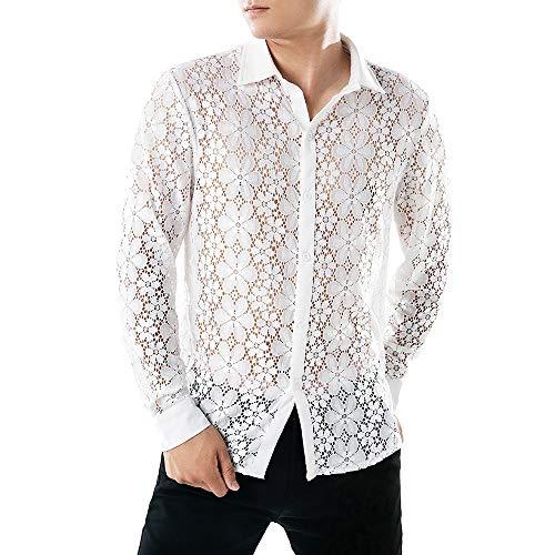 Camisas Hombre Manga Larga Camisa Fiesta Hombre Camisa Transparente Camisa Encaje Sexy Camisa Slim Fit Camisa Delgada Personalidad Tops Casual Club Nocturno Danza Traje de Baile(Blanco A,S)